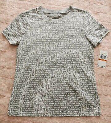 Michael Kors Women's Top Size S Embellished Gray White Prin T-Shirt Short Sleeve