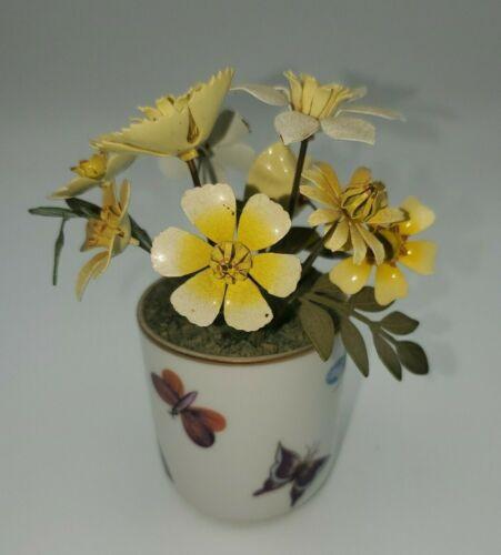 """Ted Arnold 4.75"""" Enamel Metal & Porcelain Floral Arrangement Flower Pot"""