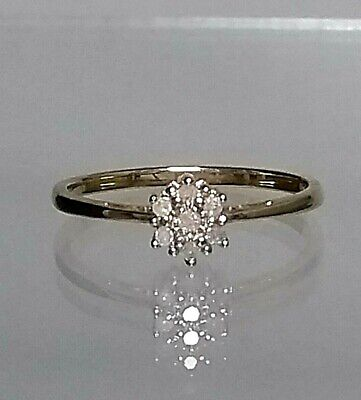 Real 9ct gold and Genuine 0.05ct Diamond Cluster Ring size N CHEAPEST EVER