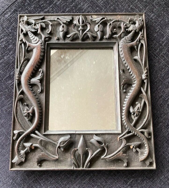 Antique Chinese Carved Dragon Wooden Rosewood Framed Mirror
