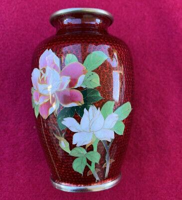 Vintage Small Japanese Cloisonne Pigeon Red Vase Flowers 3.75