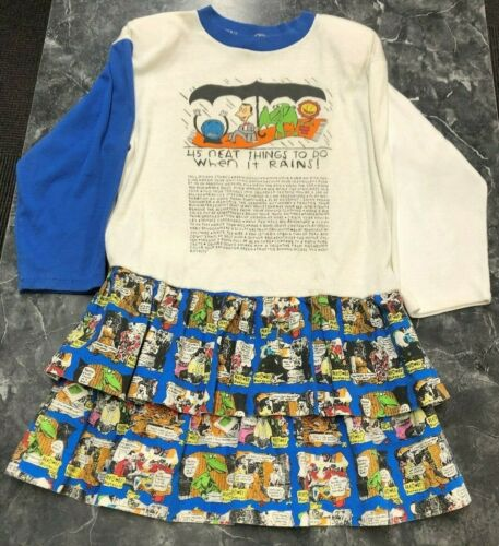 Vtg 1989 Offical Pee Wee Brand Pee Wees Playhouse Kids Dress Skirt 👀 White Blue