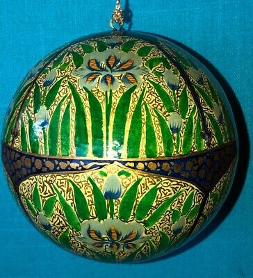 Plants Lacquer Ball Ornament Hand Painted Paper Papier Mache India FREE -