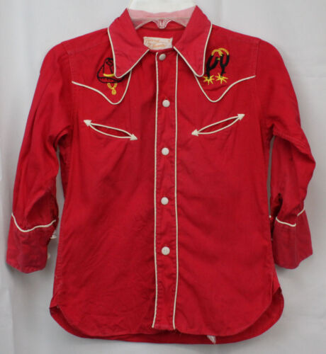 Vtg Iwanta Boys Shirt Top 50s 40s Western Wear Rodeo Cowboy Embroidered Red 6