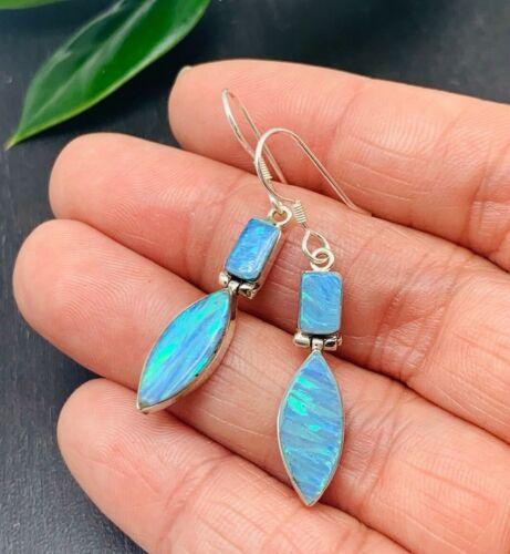 TAXCO Blue Opal Earrings 950 Sterling Silver Handmade in Mexico >925