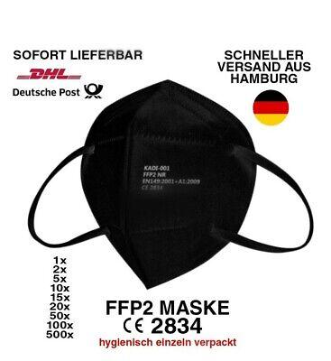 10x FFP2 Maske Mundschutzmaske Atemschutzmaske einzeln verpackt schwarz CE2834✅