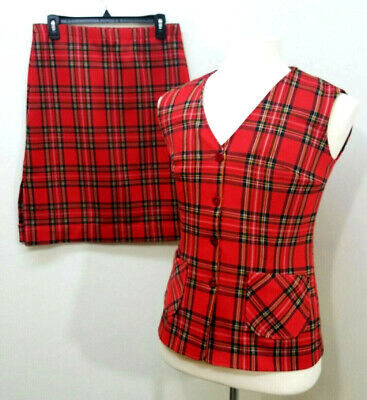 Vintage Mrs Claus 2Pc Holiday Christmas Plaid Costume Vest Skirt Size 14