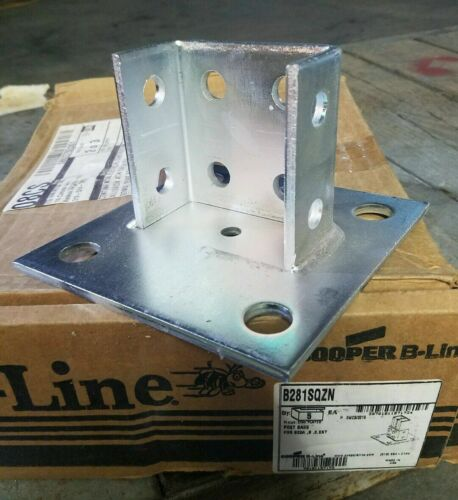 B-Line B281SQ-ZN 09351A Double Post Zinc-Plated Channel Square Base