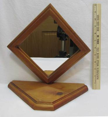 Diamond Shaped Mirror Wood Frame w/ Base Tabletop Handmade Pine Free Standing