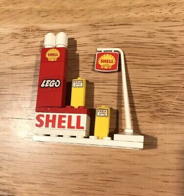 RARE VINTAGE LEGO 1950'S SHELL FUEL TANKS PUMPS SIGN ADVERTISEMENT GAS STATION