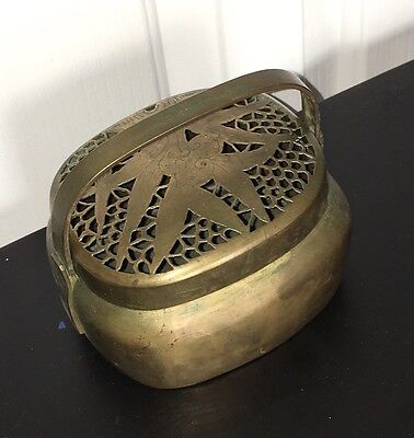 "Antique Chinese Hand Warmer Brass Incense Burner Incenser 4 X 5 X 5"""