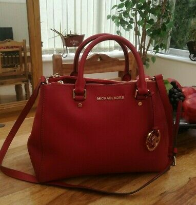 Genuine Michael Kors MK Sutton red Leather Handbag