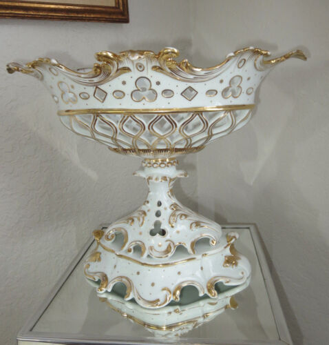 Antique Old Paris Porcelain Large Pierced Compote / Centerpiece