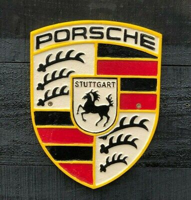Porsche Badge Cast Iron Repro Sign Vintage Garage German Supercar