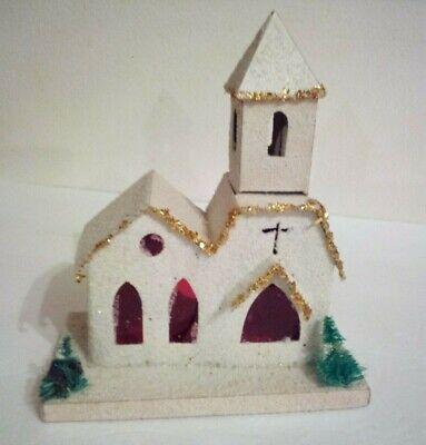 Nice Vintage Mica Putz Christmas Church