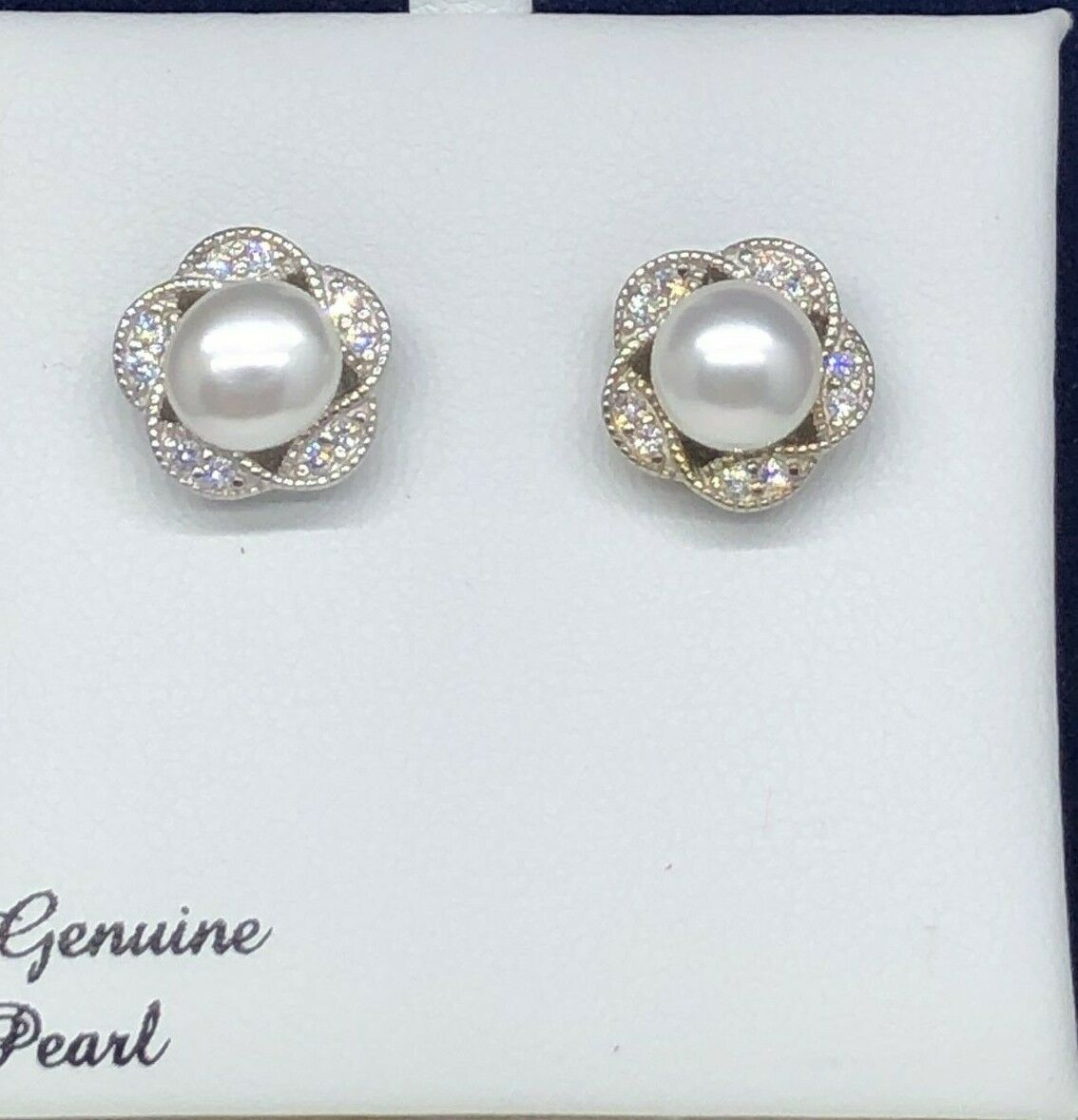Sterling Silver Freshwater Cultured Pearl Cubic Zirconia Flower Stud Earrings - $8.50