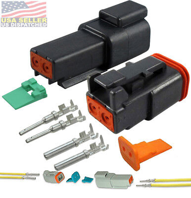 Deutsch 2-pin Connector Black Housing Pins Seals Crimp Terminals14-16 Awg