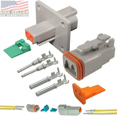 Deutsch 2-pin Flange Connector Kit 14-16 Awg Pins Seals Crimp Terminals