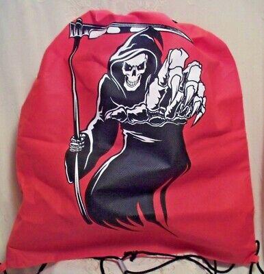 School Halloween Treats (Walmart Grim Reaper Red Drawstring Cinch Backpack School Gym Halloween Treat)
