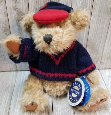 """Brass Button Plush Bear - 11"""" New with Tags  Tully COLLECTION - B154"""