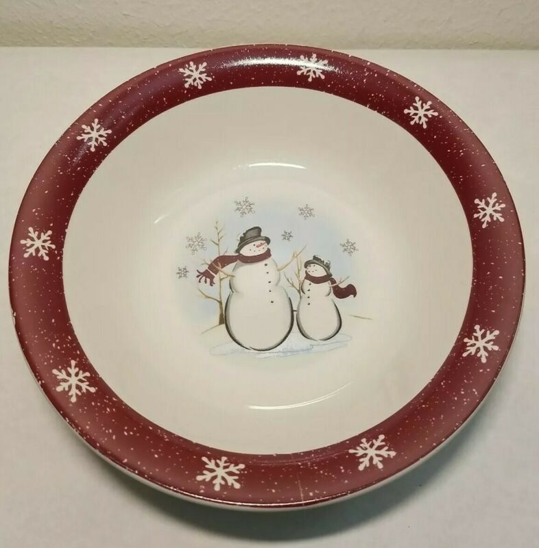 "Royal Seasons 10"" Stoneware Serving Bowl Snowman"