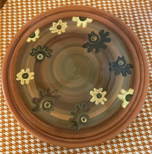 "Seminario Pottery Made In Peru 10-1/2"" Dinner Plate Birds Flowers"