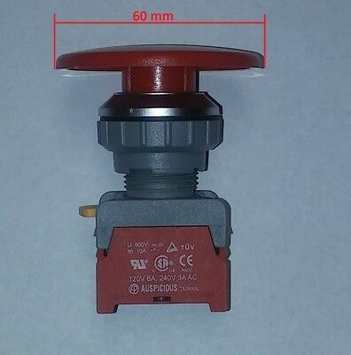 Auspicious Bxe30-1oc Mushroom 60 Mm Emergency Stop Switch 120v 6a240v 3a
