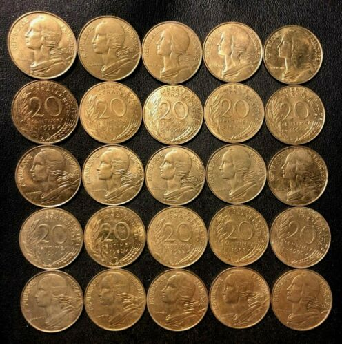 OLD France Coin Lot - 25 Coins - 5/10/20 Centimes - Your Choice - FREE SHIPPING