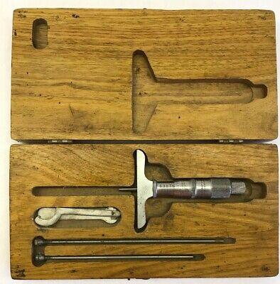 Vintage Scherr-tumico Tubular 0-3 Depth Micrometer Gauge Gage W Wood Case