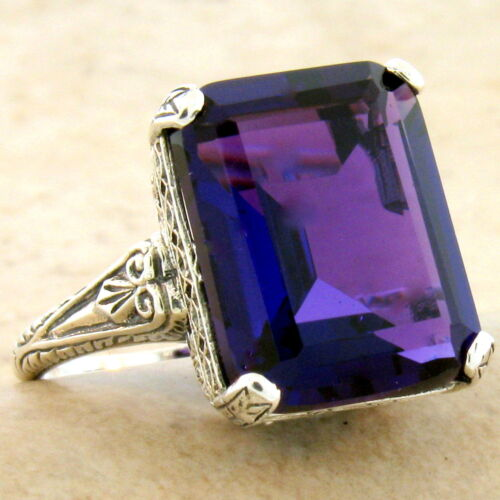 ANTIQUE STYLE 925 STERLING SILVER 8 CARAT LAB AMETHYST FILIGREE RING,       #933