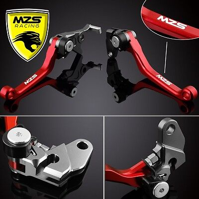 MZS Red Pivot Clutch Brake Levers For Honda CRF450R CRF450X CRF250R 2004-2006