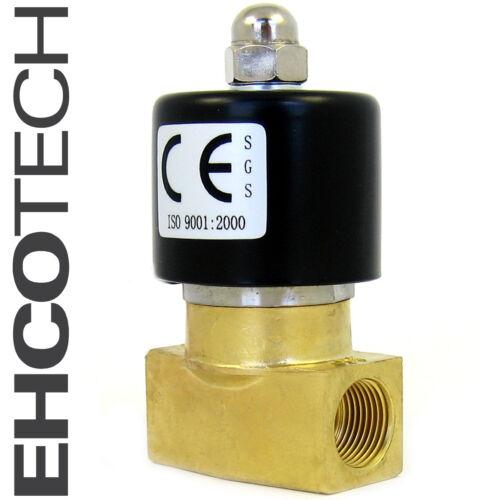 "3/8"" Electric Solenoid Valve Brass 12-Volt DC FKM/VITON Air Water Gas Fuel B20V"