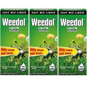 3 x Weedol / Verdone Extra Lawn Weedkiller Kills Weeds (Total 1.5L 1.5 Litre)