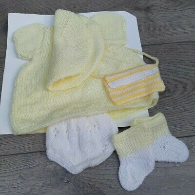"""Hand Knitted Baby Girl Dolls Clothes Outfit Set 15"""" - 18"""" Size Doll BN"""