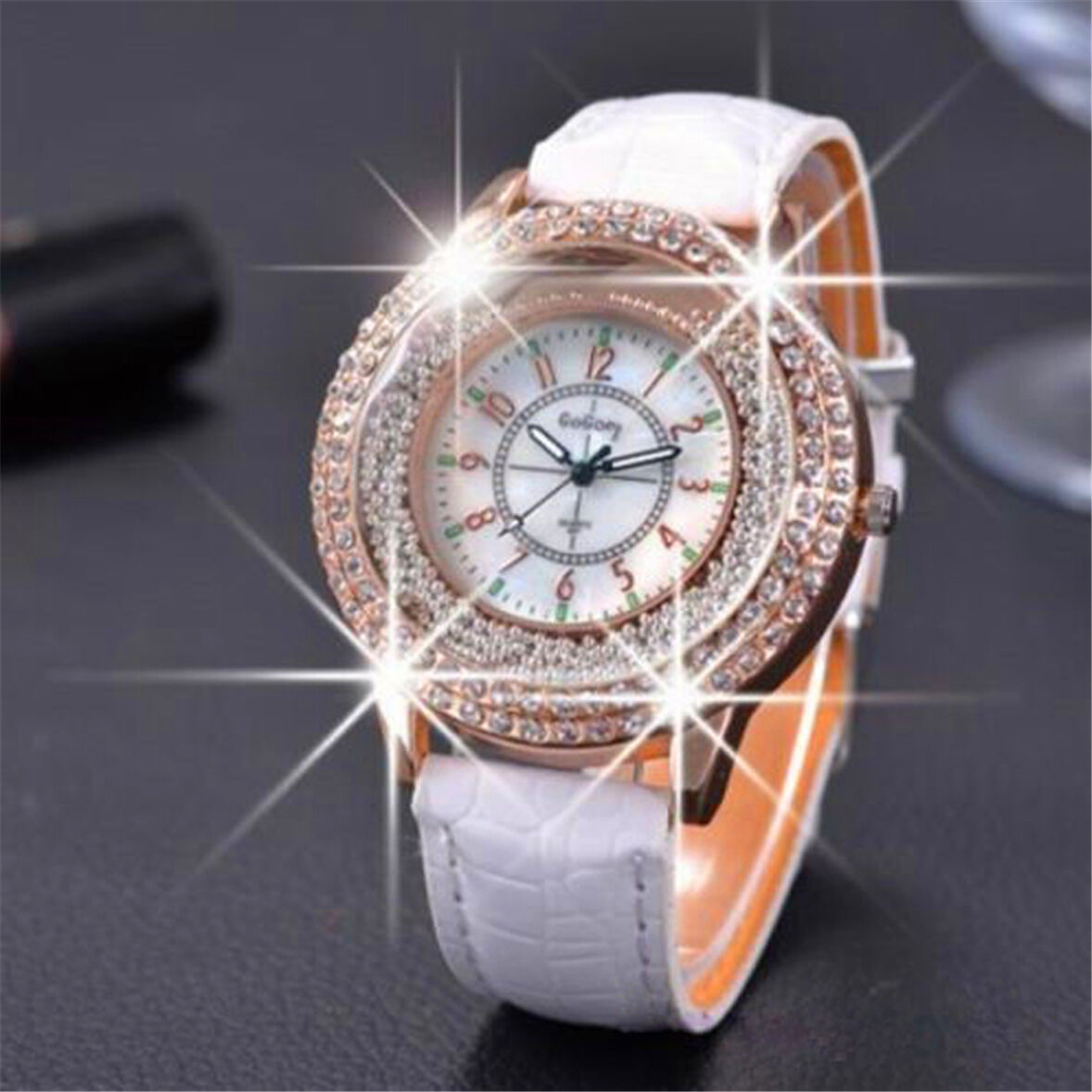 Luxury Women Watch Bling Crystal Dial Quartz Analog Leather Bracelet Wrist UK