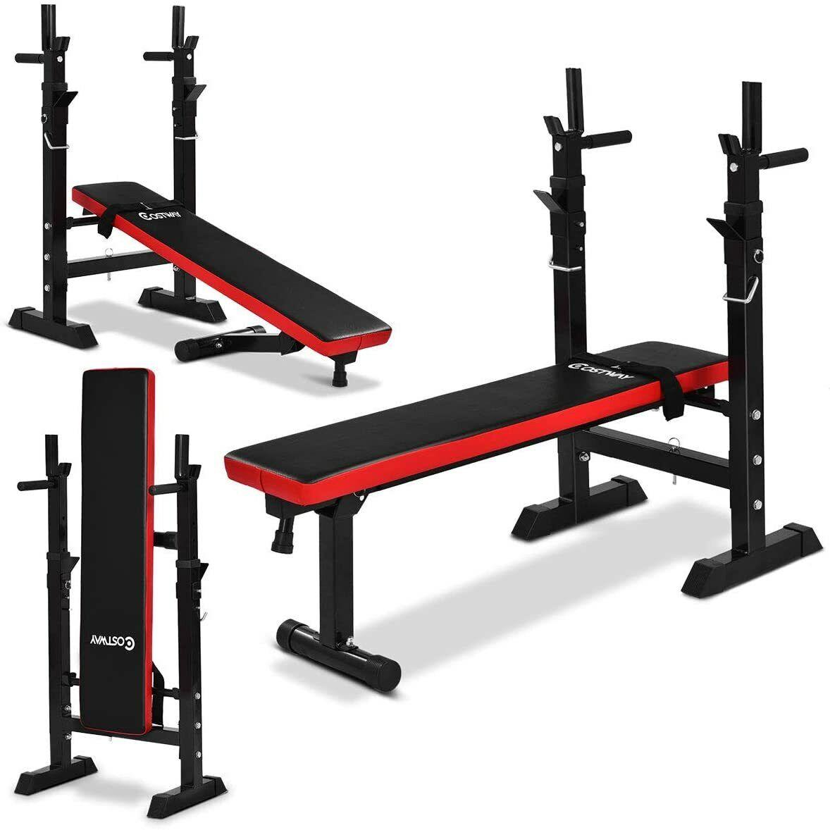 Hantelbank Trainingsbank Flachbank Fitnessgerät Kraftstation klappbar Dip-Griff