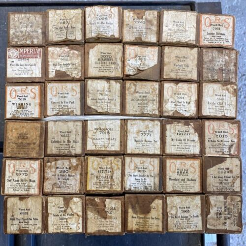 LOT OF 36 VINTAGE QRS Player Piano Word Rolls - Various Titles & Years  LOT 1