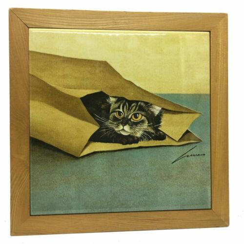 Vintage Cat Ceramic Art Hanging Wall Tile Trivet Lowell Herrero 1982 Japan
