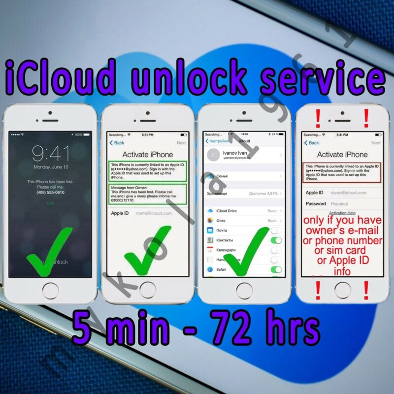 iCloud Unlock Removal Service for Apple ID Activation Lock iPhone iPad fmi READ!