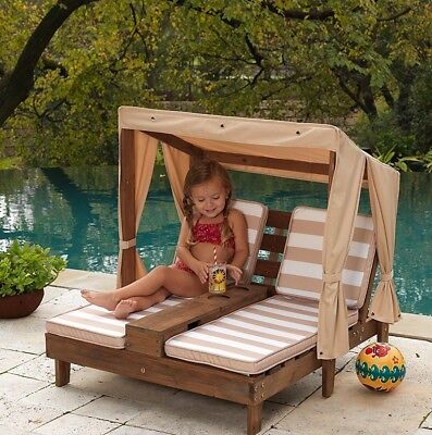 (Outdoor Garden Wooden Kids Double Chaise Lounge Cotton Canopy Cup Holders NEW )
