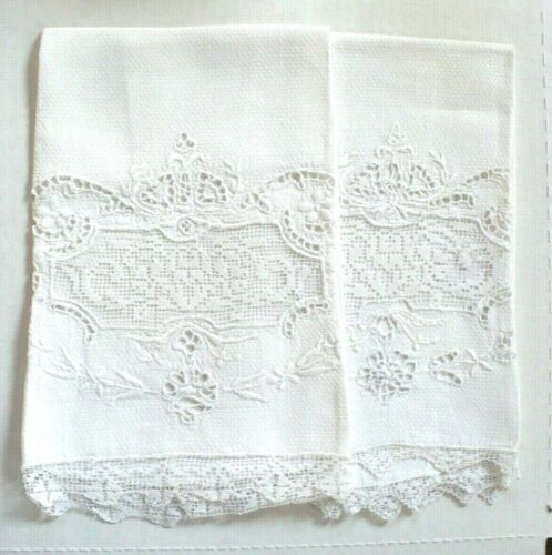 Pair Antique Linen Damask Hand Towels Lot of 2 Hand Embroidered Applied Lace