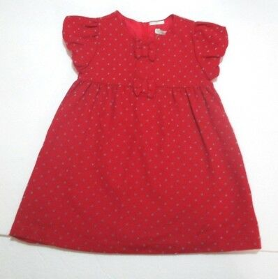 NEW NWT INFANT GIRLS BENETTON BABY RED & GRAY POLKA DOT BOW DRESS SIZE 6-9 MONTH
