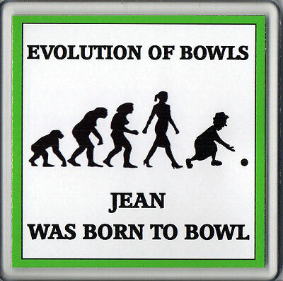 Personalised FEMALE Bowls Acrylic Drink Coaster Evolution of Bowls Lawn Indoor