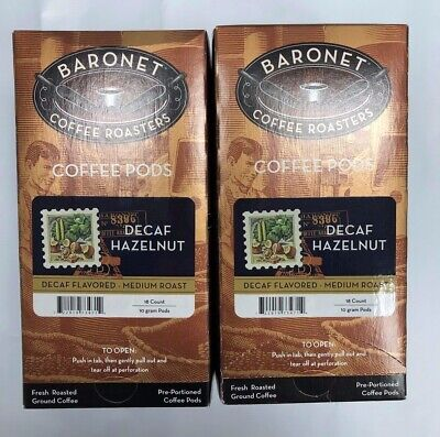 Baronet Coffee Roasters Coffee 18/10g Pods Decaf Hazelnut, Medium Roast, 2 - Baronet Coffee Coffee