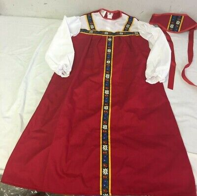 Russian Girl Costume (Ethnic Russian Girl Red Jumper Dress)