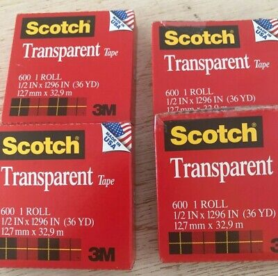 Lot Of 4 Scotch Transparent Tape 12 Wide 36 Yd Each144yd 5184 Boxed 1core