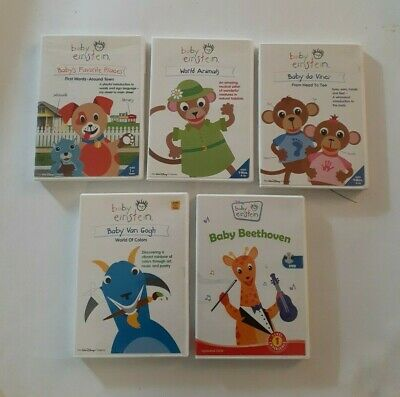Lot of 5 Disney BABY EINSTEIN DVDs - Animals Van Gogh Beethoven Da Vinci Places