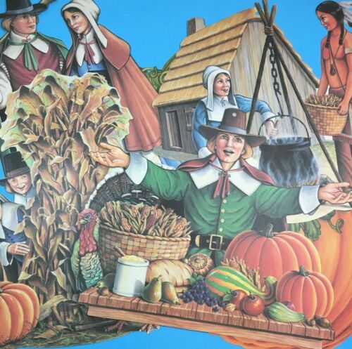 Vintage Die Cut Beistle Thanksgiving Indian Pilgrim Turkey Wall Decor 8 Cut Outs