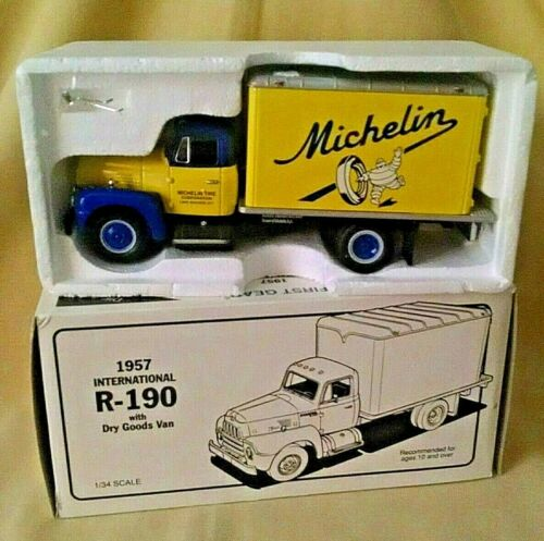MICHELIN TRUCK INTERNATIONAL R-190 1957 FIRST GEAR 1995 1:34 DRY GOODS VAN.