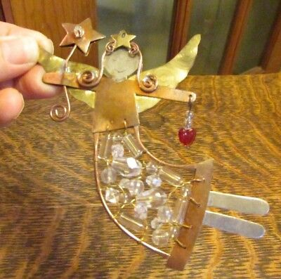 MIXED METALS COPPER, BRASS, SILVERTONE ANGEL CHRISTMAS - Brass Angel Ornament
